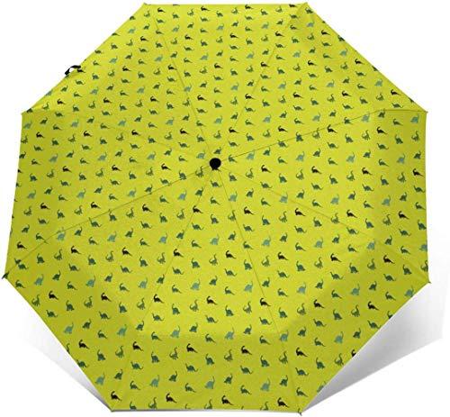 EW-OL Paraguas portátil Plegable a Prueba de Viento con protección contra la Lluvia (Dinosaurio bebé Kawaii)