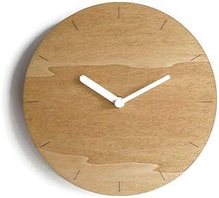 28cm Piccolo orologio da muro in legno tondo silenzioso per salotto colorato come noce chiaro Particolari orologi a parete...