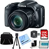 Canon PowerShot SX530 HS 16MP 50x Opt Zoom Full HD Digital Camera Black Deluxe Bundle w/ 32GB SD Card, 1150mah Battery, Compact Deluxe Gadget Bag, 5' Flexible Tabletop Tripod, Hispeed Card Reader&More