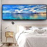 MYSY Natürlicher Sonnenuntergang Könnte See Landschaft Poster Drucke Leinwand Gemälde Mediterran Skandinavische Wandkunst Bild für Wohnzimmer-50x150cmx1 STK. Ohne Rahmen