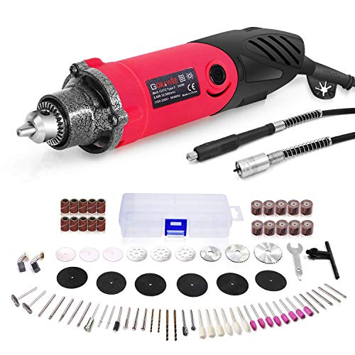 GOXAWEE Power Rotary Tool Set with 1/4 Inch 3-Jaw Chuck (0.5-4 mm), 6 Step Variable Speed, Advanced Flex Shaft & 82Pcs...