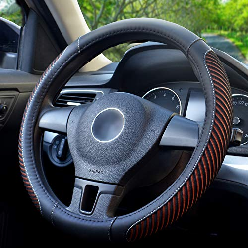 BOKIN Steering Wheel Cover, Microfiber Leather and Viscose, Breathable, Warm in Winter and Cool in Summer, Universal 15 Inches (New Brown)