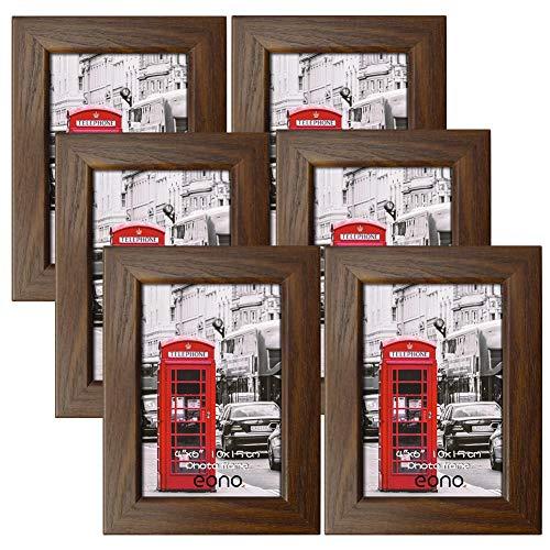 Amazon Brand - Eono Rustikale Bilderrahmen 10x15 cm mit Glas und Holzmaserung, wandhängend und freistehend, 6er Set