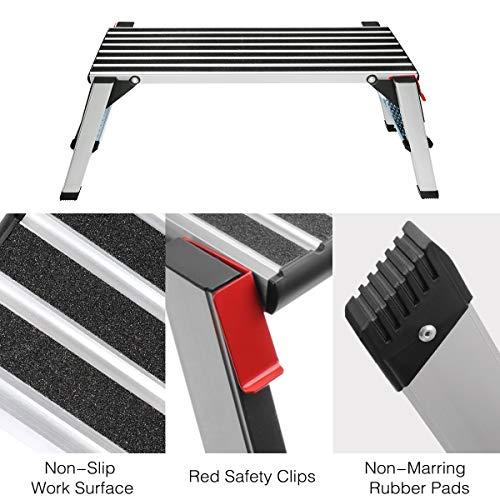 Gimify Work Platform Aluminum Folding Step Ladder Drywall Stool Portable Bench Non-Slip, 330lbs Capacity