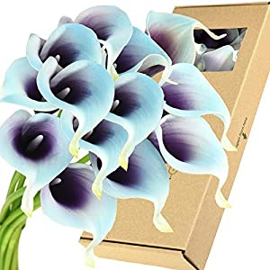 FiveSeasonStuff Real Touch Calla Lilies Artificial Flowers Wedding Bridal Bouquet Home Décor Party |Floral Arrangments | 15 Stems