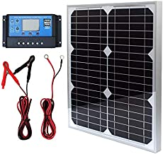 TP-solar Solar Panel Kit 20W 12V Monocrystalline with 10A Solar Charge Controller + Extension Cable with Battery Clips O-Ring Terminal for RV Marine Boat Off Grid System