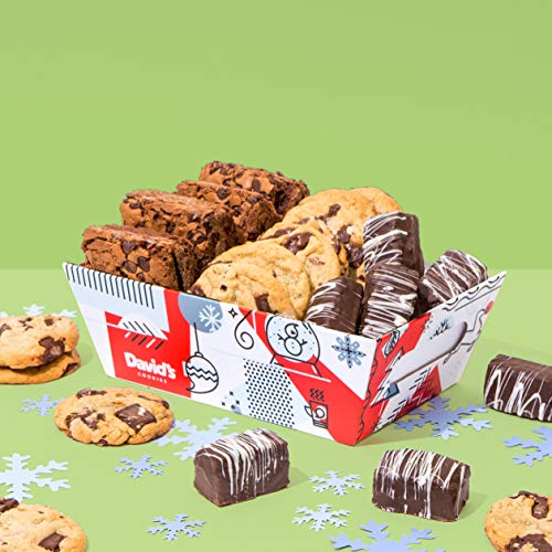 David's Cookies – FRESHLY Baked Goods in Holiday Gift Basket – Includes Brownies, Chocolate Chunk Cookies & Chocolate- Covered Brownie Bites – Delicious Gift Idea