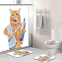 12のフック+バスマット+トイレふたカバー+非スリップマット敷物、防水速乾性カビ防滑り止め付きのバスルームのためのかわいい猫のシャワーカーテンセット、 Cat4-150*180cm