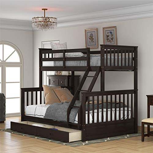 Harper & Bright Designs Twin-Over-Full Bunk Bed with Ladders and Two Storage Drawers,Space-Saving Design,Espresso