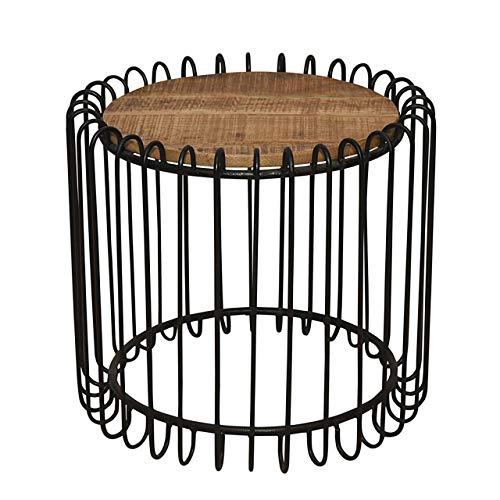 Soma salontafel rond ø 50 cm woonkamer tafel bijzettafel York metalen frame zwart mat of zuiver wit (BxHxL) 50 x 45 x 50 cm zwart mat - Tabacco