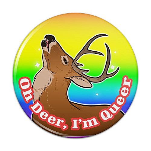 Oh Deer I'm Queer Rainbow Pride Gay Lesbian Funny Pinback Button Pin Badge - 1' Diameter
