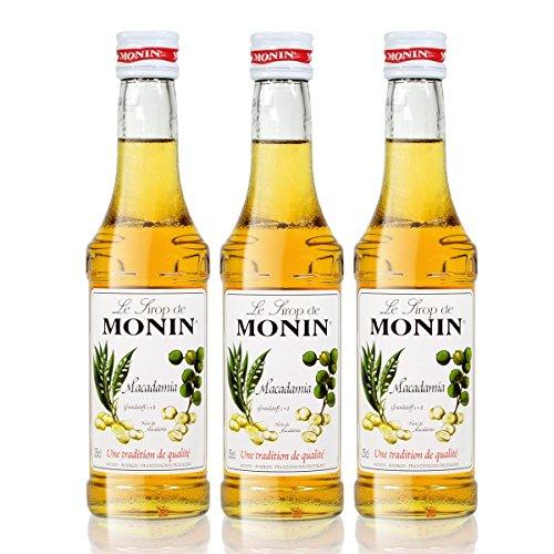 3x Monin Macadamia Sirup, 250 ml Flasche