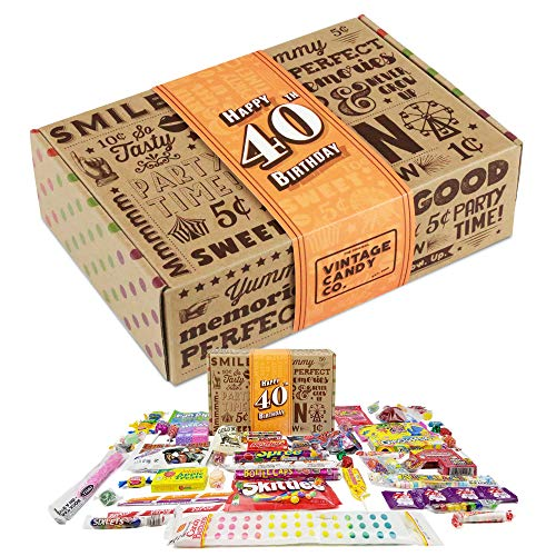 VINTAGE CANDY CO. 40TH BIRTHDAY RETRO CANDY GIFT BOX - 1981 Decade Childhood Nostalgic Candies - Fun...