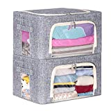 SLEEPING LAMB Stackable Oxford Cloth Steel Frame Storage Box with Front Opening Foldable Clothes Storage Bins Organizer for Sweaters, Blankets, Sheets, Bedding, 2 Packs, Grey