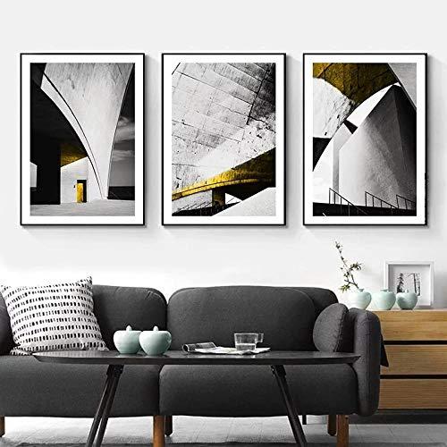 Cuadro Retro NóRdico, DecoracióN Del Hogar, Lienzo, Pintura ArtíStica, Europa, Edificio Vintage, Impresiones ArtíSticas De Pared, Carteles Minimalistas Para Sala De Estar Sin marco-Los 50x70cmx3