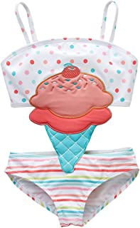 stylesilove Toddler Girls Lovely Print Flounced One-Piece Swimsuit One Shoulder Swimwear