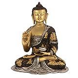 30,48 cm con figura de buda para Vitarka de la Estatua de la vida Tamaño grande - dorado acabado en plata latón diseño de Estatua de Buda con texto en inglés