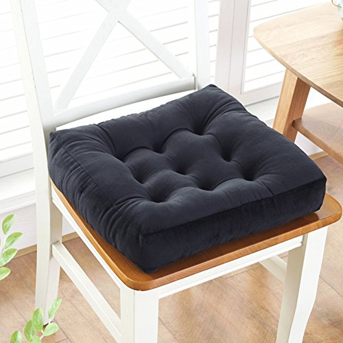 YLCJ Seat van anti-slip katoen, stoelkussen, [dikke studenten] kussen met kant Tatami, vierkant kussen voor klaslokaal van molton, zwart, 45 x 45 cm