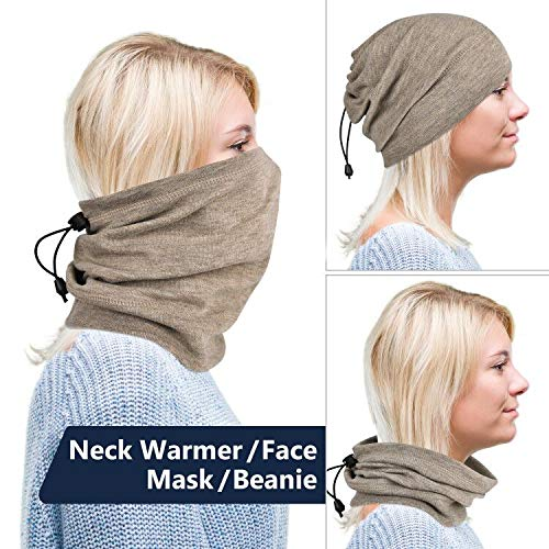 MCTi Neck Gaiter Warmer Winter Fleece Scarves Beanie Hat for Skiing Cycling Elastic Closure Black and Brown