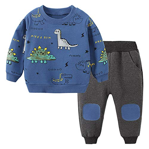 Toddler Baby Boy Clothing Sets Little Dinosaur Printed Long Sleeve Tops and Pants Kids 2pcs Outfits (Blue, 2-3T)