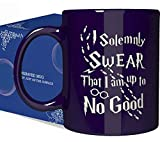 Engraved Ceramic Coffee Mug - I Solemnly Swear That I Am Up to No Good - 11 Ounce - Inspirational and Sarcasm Mothers Fathers Day Gift Cup for Bonus Grand Mom Dad