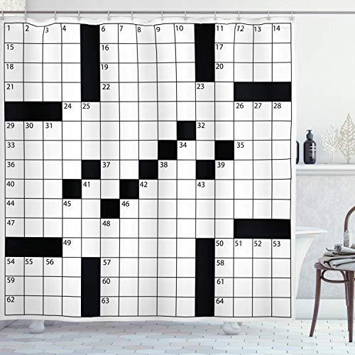 ASDAH 48X72inch Word Search Puzzle Douche Gordijn Blank Krant Stijl Kruiswoordraadsel Puzzel met Getallen in Word Grid Doek Stof Badkamer Decor Set met Haken Monochroom