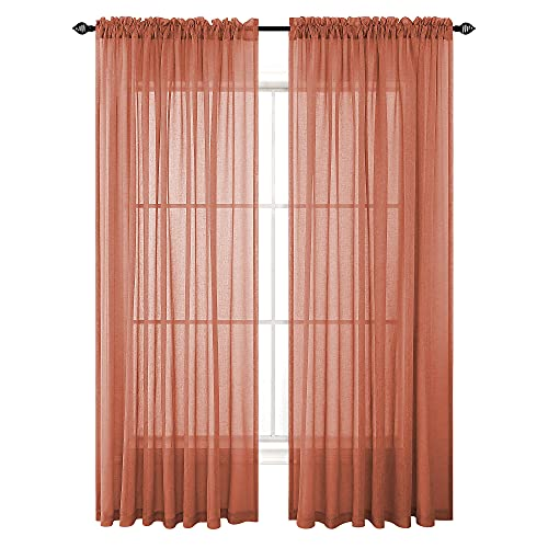 Terracotta Semi Sheer Curtains 84 Inches Long for Living Room 2 Panels Set Rod Pocket Window Decor Faux Linen Drapes Light Filtering Textured Rust Red Curtains for Bedroom 52x84 In Length Burnt Orange