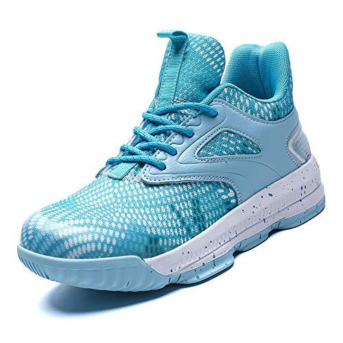 CXQWAN Chaussures de Basket-Ball Hommes, Haut Baskets Basses Sports Marche Chaussures de Course Haute Elasticité Non-Slip Convient pour Venues en Plastique intérieur et extérieur,Bleu,45