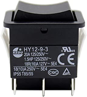 KEDU HY12-9-3 6 Pins 125/250V 20/18/(10) A Push Button Switch ON-OFF-ON Rocker Pushbutton Switches for Electrical Tools with Self Reset Function 2-Pack