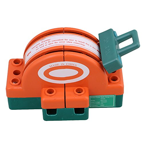 BQLZR 32A 2 Pole Double Throw DPDT Knife Safety Disconnect Switch Iron Plated Zinc Type 1