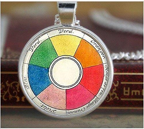 Vintage-Halskette, Rad-Halskette, Künstler-Schmuck, Lehrer, Studenten, Kunst-Halskette, Künstler, Druck-Glas-Halskette