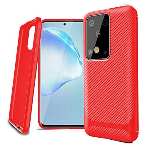 AILZH beschermhoes voor mobiele telefoon Samsung Galaxy S20 hoes 360 graden beschermhoes 6,7 Zoll(Samsung Galaxy S20 Plus/S20+ 5G) HX koolstofvezel-rood