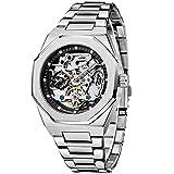 Herren Uhren Automatische Mechanische Skelett Glasboden Römische Zahlen Diamant Zifferblatt Wasserdicht Schwarz Männer Armbanduhr mit Edelstahl Uhr(Silver Black)