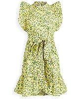 Banjanan Women's Audrey Mini Dress, Audrey Sprig Aurora, Floral, Yellow, Medium