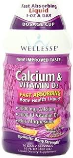 Wellesse Calcium & Vitamin D3, 1000mg, Natural Citrus Flavor, 16-Ounce Bottles (Pack of 6)