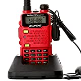 Two Way Radio,Baofeng Walkie Talkie UV-5R5 5W Dual-Band Two-Way Ham Radio Transceiver UHF/VHF 136-174/400-520MHz,65-108MHz FM with Upgraded Earpiece,Built-in VOX Function,Battery,Charger - Red