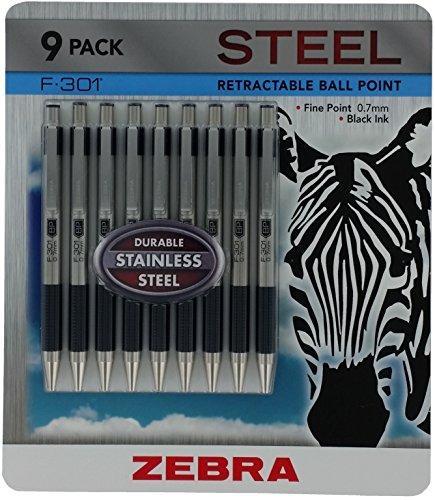 ZEBRA Ball Point Pen F-301 (9 Pack), Black