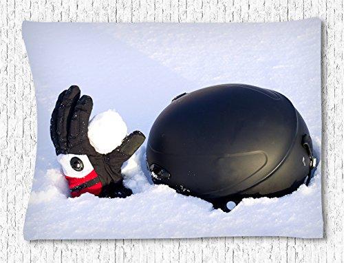 Irma00Eve Wandtapijt, skihelm en handschoenen met een kleine sneeuwbal op de sneeuwmuur opknoping voor slaapkamer woonkamerslaapzaal, 60 W X 40 L inch
