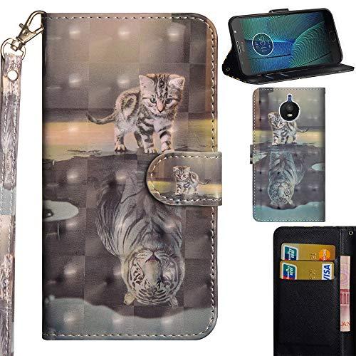 Ooboom Motorola Moto G5S Plus Hülle 3D Flip PU Leder Schutzhülle Handy Tasche Hülle Cover Ständer mit Trageschlaufe Magnetverschluss für Motorola Moto G5S Plus - Katze Tiger