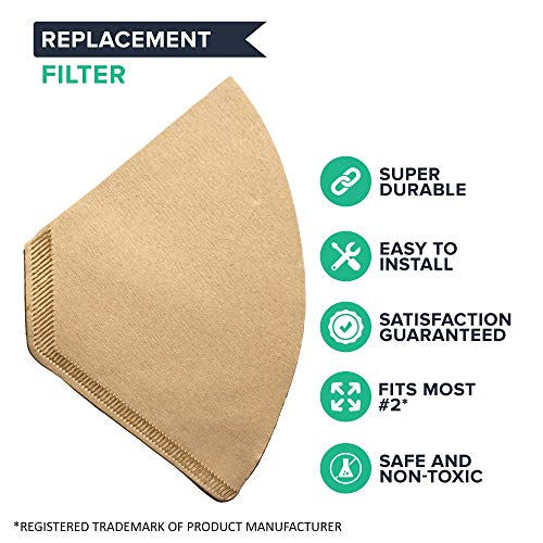 Think Crucial Replacement Coffee Filters – Compatible with Part 622752 – Fits Model #2 Unbleached Natural Brown Paper Coffee Filters – Bulk (400 Pack)