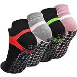 Fodlon Calcetines Yoga Antideslizantes, 4 Pares Calcetines de Deporte con Grips para Pilates, Ballet, Fitness, EUR 35-43