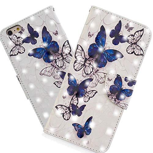 HMTECH iPhone 8 / iPhone 7 Custodia 3D Farfalla bianca blu PU portafoglio in pelle Flip Stand titolare della carta Bookstyle Cover per iPhone 7,BF Royal Blue White Butterfly