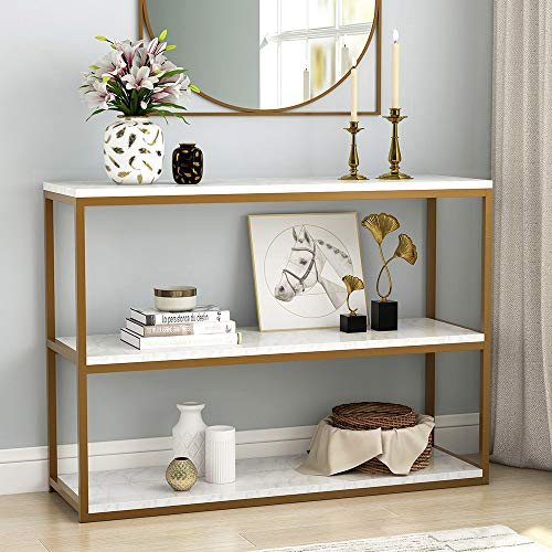 Tribesigns 3-Tier Console Table, Gold Sofa Entry Table with Faux Marble Top...