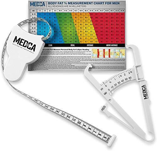 Calibrador de grasa corporal y cinta métrica para el cuerpo Calibradores de piel y cinta métrica herramienta para medir, plegado de piel y pérdida de peso – Nuevo diseño (blanco)