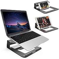 Dobee Soporte para Portátil, 3 en 1 Multiusos Aleación de Aluminio Diseño Integrado Inclinación ergonómico de Laptop Stand para Macbook/iPad, Laptop, Tableta y Teléfono Inteligente (Negro)