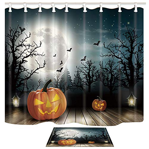 Pumpkin in Dark Shower Curtain with Bath Rug Halloween Set