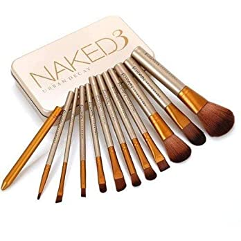 TECHICON Complete Makeup Brushes Set Kit (Set of 12 Brushes with Golden Metal Storage Box)