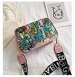 Mdsfe 2020 nuevos Bolsos de Mujer Summer Graffiti Ladies Bolsos de diseño Mini Bolso de Cadena Mujer Bolsos de Mensajero para Mujer Clutch - Rosa
