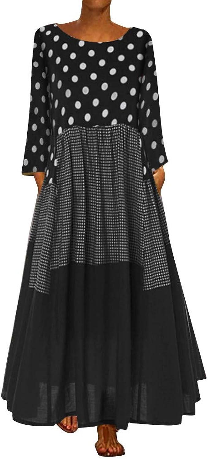 MAYOGO Damen Herbst Kleidung Damen Langarm Maxi Kleid mit Punkten Damen  Langen Gelb Schwarz Rot mit Weißen Punkten Kleid aus Baumwolle Plaid Kleid  ...
