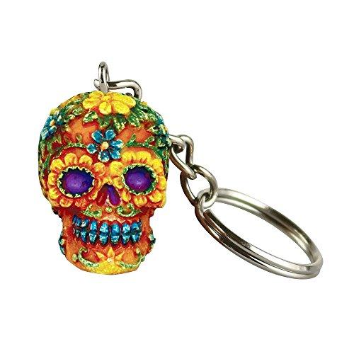 Hand Painted Polyresin Sugar Skull Keychain - Orange